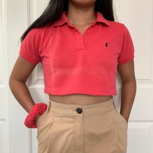 Red Polo Ralph Lauren Super Cropped Polo Shirt